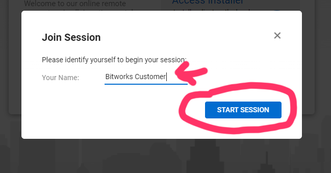 Add your name to start session dialog
