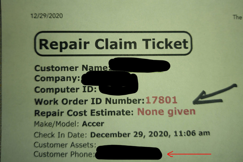 Repair Claim Ticket showing work order