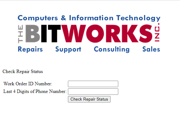 Repair status page to enter work id and phone number